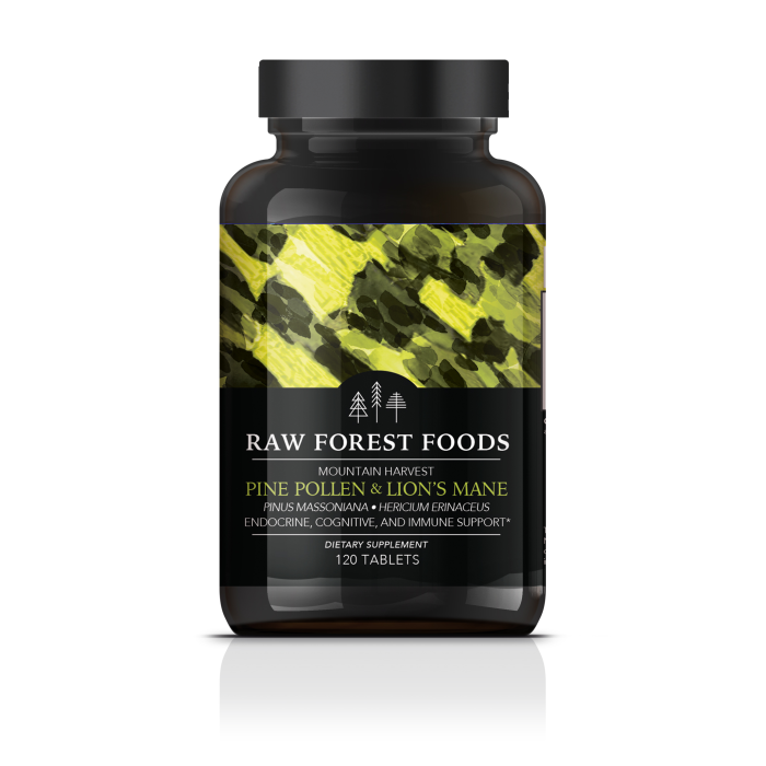 Mountain Harvest RAW Pine Pollen and Lion's Mane Extract Tablets
