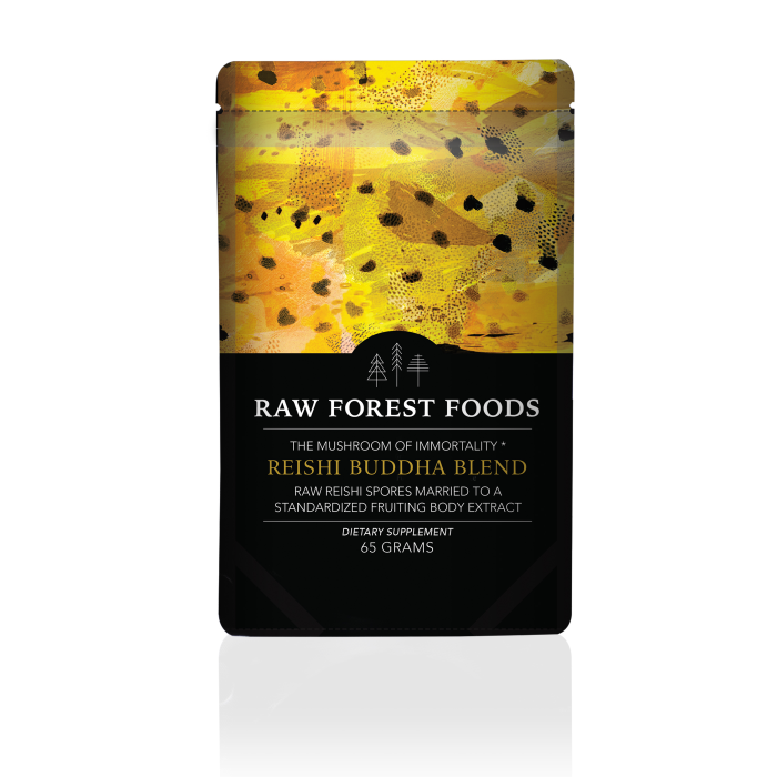 Reishi Buddha Blend: RAW Reishi Spores and Powdered Extract